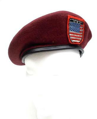 Vintage BANCROFT Military Cap Special Forces Red Beret USA Wool Size 7 3/8