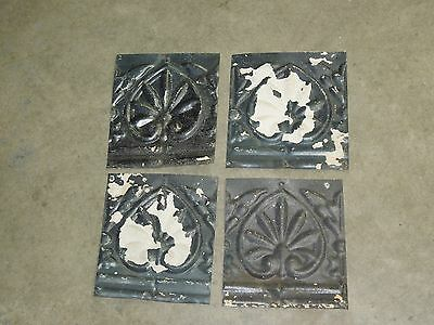 "Old Antique ( Metal ) tin ceiling tile / tiles  -( 4 ) 6"" pattern"