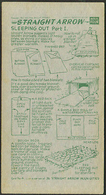 Straight Arrow Nabisco Card #4 Book 4 Sleeping Out #1 1952