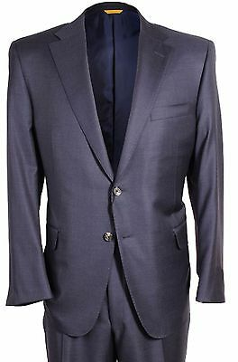Hickey Freeman Beacon Classic Fit Solid Blue Wool Mens Suit 40 R Regular NEW
