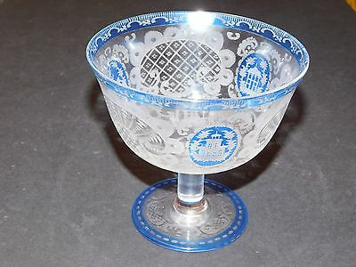 Bohemian Blue Crystal Cut Etched Glass Footed Dish