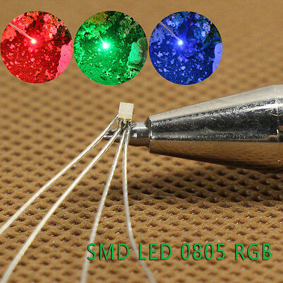 T0805RGB 20pcs Pre-soldered micro litz wired leads Red Green Blue SMD Led 0805