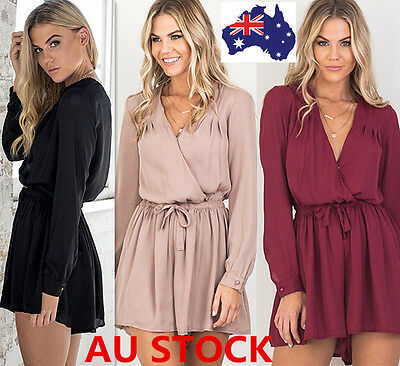 Women Long Sleeve V-Neck Loose Playsuit Bodycon Party Jumpsuit Romper Trousers