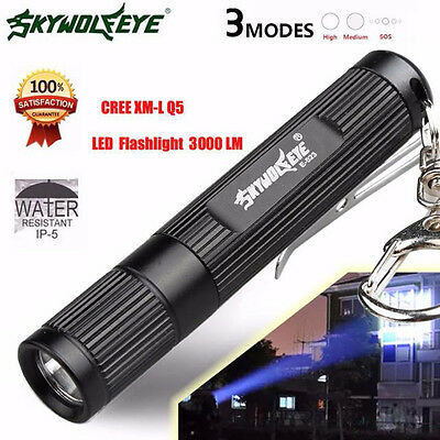 Super Bright 3000LM Zoomable CREE Q5 LED Flashlight 3 Mode Torch Light Lamp AAA