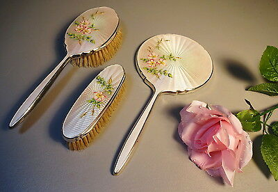 Elkington Sterling Silver & Guilloche Enamel Vanity Set Mirror & 2 Brushes E&Co.