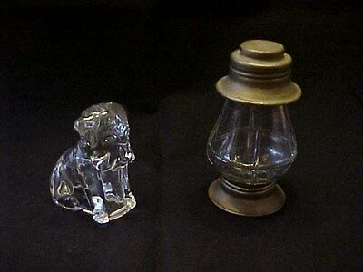Pair Old Glass Candy Containers / Lantern / Dog