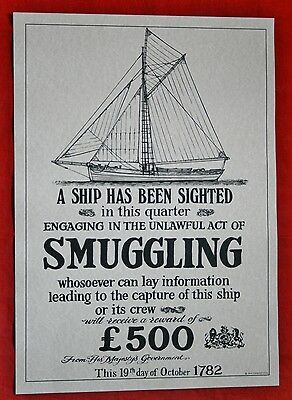 """Reproduction Antique 18th Century """"SMUGGLING"""" Poster Nautical/Maritime Theme"""