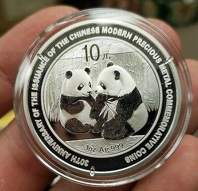 2009 China 1 oz 10 Yuan Silver Panda 30th Anniversary Precious Metal