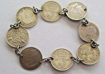 """THREEPENCE SILVER COIN BRACELET WITH 8 COINS 1885 TO 1936 925 Chain - 7½"""" LONG"""