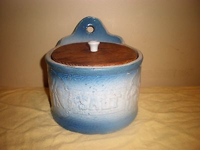 Antique Salt Box, stoneware, crock, blue & white, wooden lid, great condition