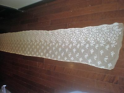 Antique lace table runner, 10 feet long,