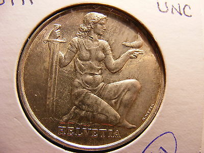 Switzerland 5 Francs, 1936, Confederation Armament Fund, UNC, One Year Type Coin
