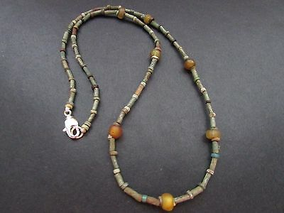 NILE  Ancient Egyptian Amulet Glass Faience Mummy Bead Necklace ca 600 BC
