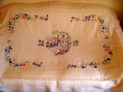 Vintage Large Hand Embroidered Tablecloth Crinoline Lady English Garden Flowers