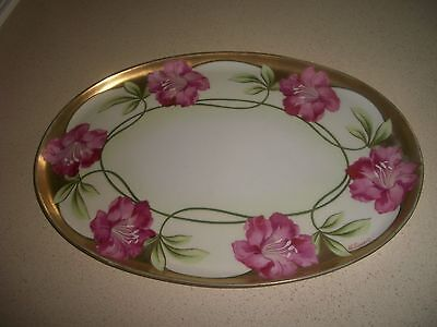 Antique MZ Austria Hand Painted Porcelain Tray w/ Azalea Flowers Artist Signed