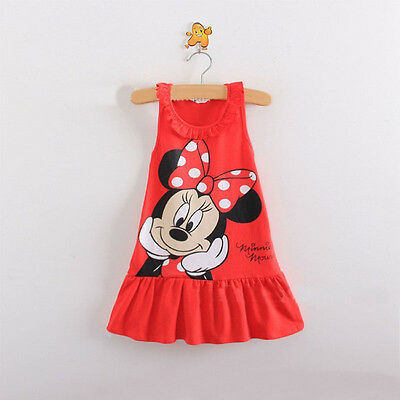 Newborn Summer Baby Girls Cute Princess Minnie Vest Dress Red 6-12Months