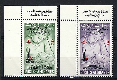 AFGHANISTAN - 1963 Mi.801A/2A Corner Examples with Marginal Text Neuf/Mint **(*)