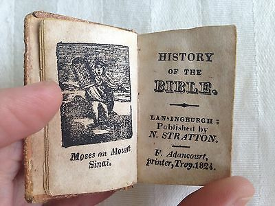 """Mini History of the BIBLE Miniature NEW YORK 1824 2"""" ANTIQUE Leather Bound Book"""
