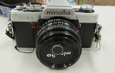 Vintage MINOLTA XG-1 35 mm Camera w/ LENS CASE INSTRUCTIONS AUTO STROBE FILM ++