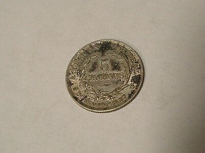 Costa Rica 1890 Silver Coin 5 Centavos Toning Estate Find