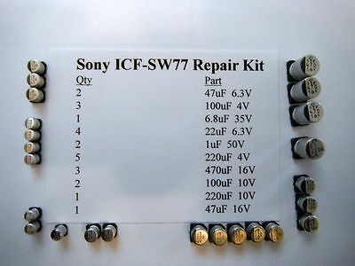 New Sony Icf-Sw77  Shortwave Radio Repair Kit Of Parts With Service Manual