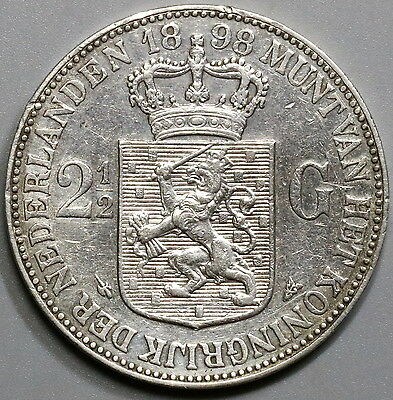 1898 NETHERLANDS Silver 2 1/2 Gulden Crown Wilhelmina Coin (17041146R)