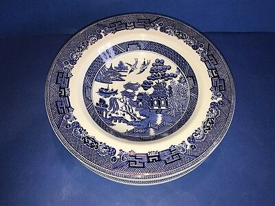 """6 JOHNSON BROTHERS BLUE WILLOW Ironstone Rimmed Soup Bowls 8 1/2"""" ENGLAND"""