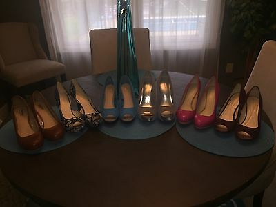 Lot Of 6 Pairs Of Women's Heels Pumps Sandals Shoes Size 8 Name Brands