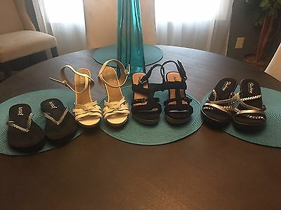 Lot Of 4 Pairs Of Women's Heels Pumps Sandals Shoes Size 8 Name Brands