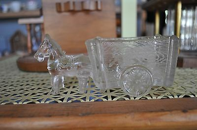 Vintage donkey & cart candy dish - clear glass horse wagon bowl Pressed