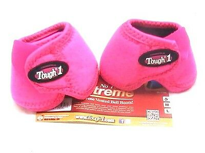 """Tough 1 Extreme """"No Turn"""" Bell Boots in PINK Size Medium horse tack 64-15100"""