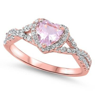 Rose Gold Pink Morganite Heart Infinity .925 Sterling Silver Ring Sizes 4-11