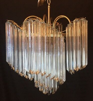 Vintage Large VENINI ITALIAN MURANO Glass Prism Large Chandelier