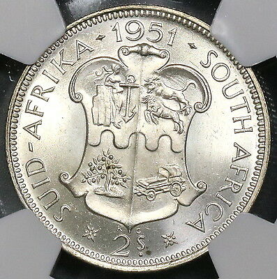 1951 NGC MS 63 South Africa Silver 2 Shillings BU Key George VI Coin (17022103C)