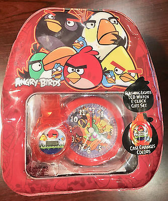 Angry Birds Flashing Lights Lcd Watc & Clock Gift Set In Mini Back Pack Rovio