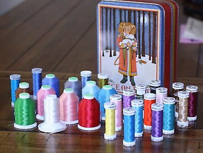lot 28 machine embroidery thread Coats & Clark-Melter-Guterman-W.Germany-Sulky
