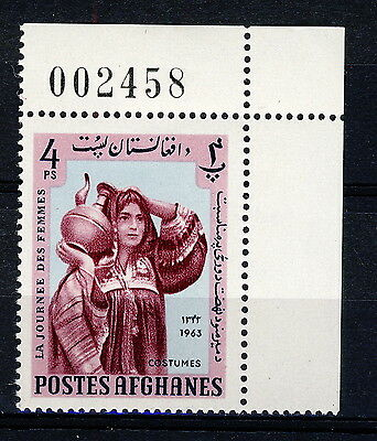 AFGHANISTAN - 1963 Mi.825A Corner Example with Sheet Number Neuf / Mint **(*)