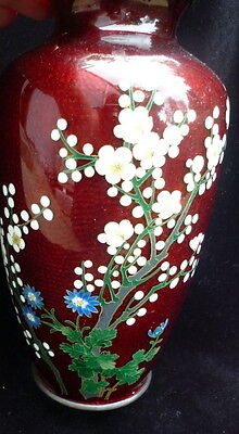 "BEAUTIFUL Antique Red Japanese 8"" Cloisonne Pigeon Blood Enamel Vase"