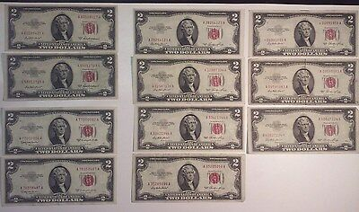 (11) 1953 $2 Dollar Bill Red Seal United States Notes