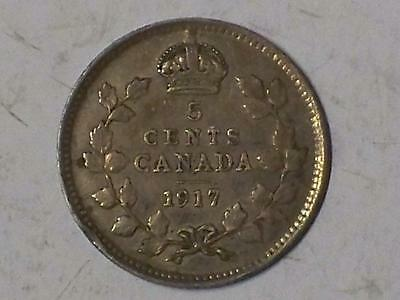 1917 VERY FINE CANADIAN 5 CENT PIECE GEORGE V REVERSE #7778 glcm