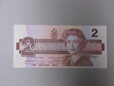 1986 $2 CANADIAN BILL UNCIRCULATED SERIAL #BUE1366209 #9394 glcw