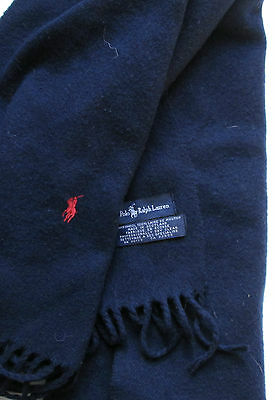 Polo Ralph Lauren  Elegant deep Navy colour 100 % wool scarf  made in Scotland