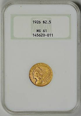 1926  $2.5 Gold Indian NGC  MS61  *  Old Fatty NGC Holder  *   #145620-011