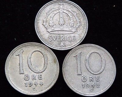 THREE SWEDEN 10 ORE SILVER COINS 1942, 1944, 1947 Lot NB55