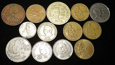 Thirteen Assorted Philippines Coins Lot MY38