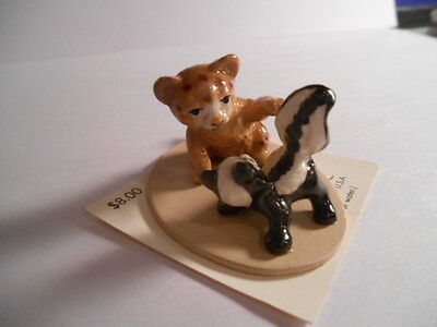 Hagen-Renaker Vintage Cougar Kitten and Skunk, #A33141 oN CARD