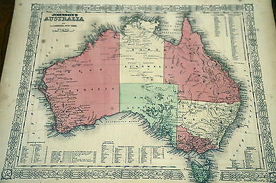 1863 Johnson Antique Atlas Map-Australia-Handcolored-Beautiful Border