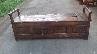Antique 18Thc  Heavy Oak Carved French Long Chest/coffer /kist/ Seat As Found