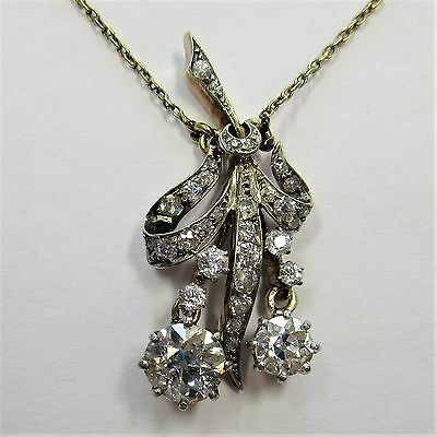 44 - Antikes Collier Gold Altschliff Diamanten Diamantrosen etwa 1,50 ct. - 2235
