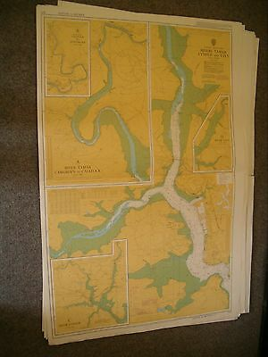 Vintage Admiralty Chart 871 UK - RIVERS TAMAR, LYNHER & TAVY. 1984 edn
